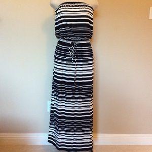 J crew strapless dress maxi striped drawstring